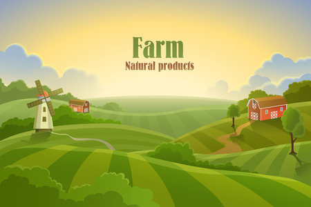 Farm flat landscape. Organic food concept for any design  イラスト・ベクター素材