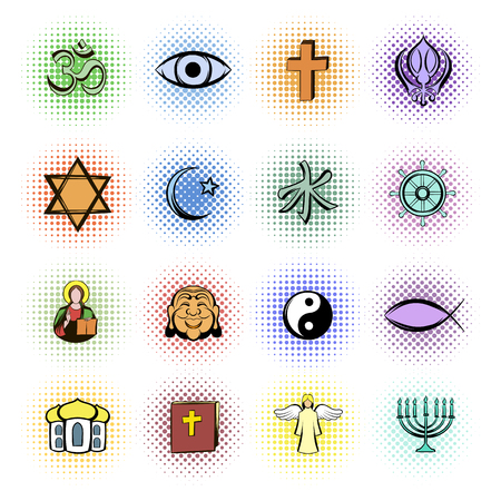 nirvana: Religion comics icons set isolated on white background