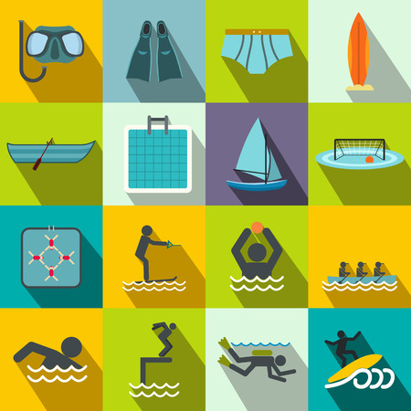 kite surf: Water sport flat icons set for web and mobile devices Illustration