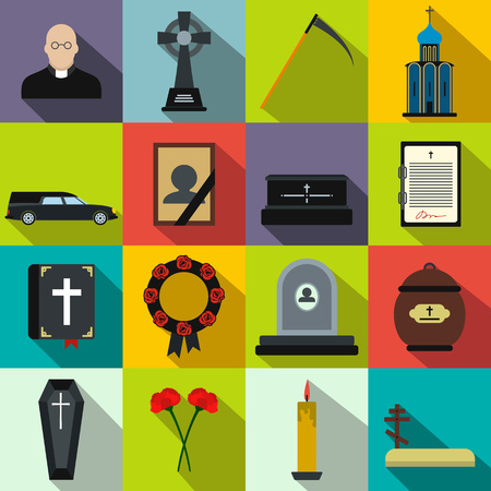 obituary: Funeral and burial flat icons set for web and mobile devices Illustration