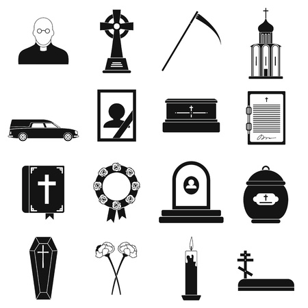 Funeral and burial black simple icons isolated on white background