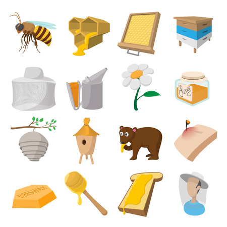 apiary: Apiary cartoon icons set isolated on white background