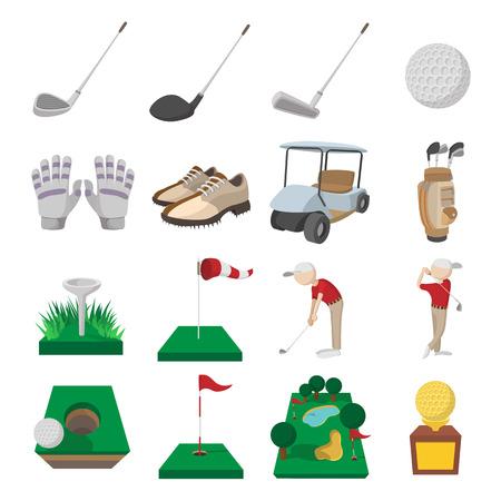 icônes Golf cartoon set isolé sur fond blanc Vecteurs