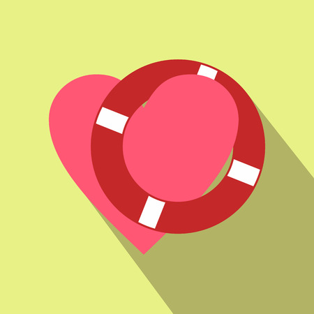 lifeline: Heart with lifeline flat icon for web and mobile devices Illustration