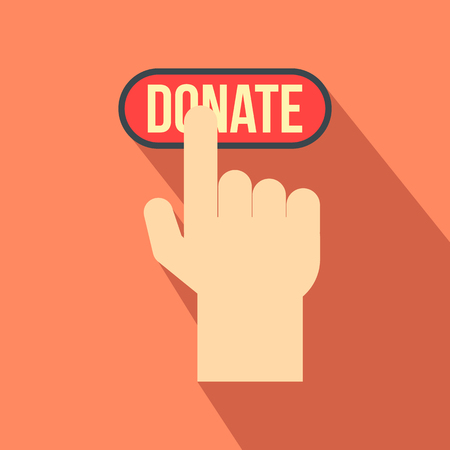 donate: Donate button pressed by hand flat icon for web and mobile devices