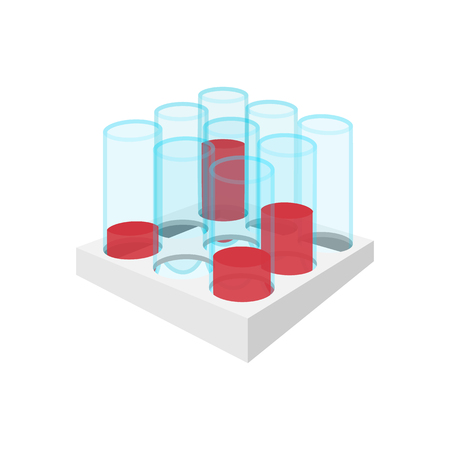 Medical test tubes with blood in holder cartoon icon on a white background
