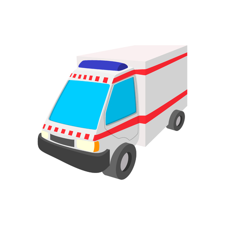 disaster relief: Ambulance car cartoon icon on a white background Illustration
