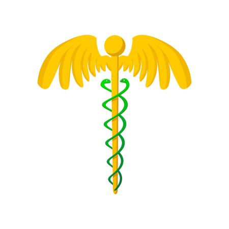 caduceo: Caduceo médico del símbolo del icono de dibujos animados sobre un fondo blanco Vectores