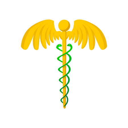 caduceus medical symbol: Caduceus medical symbol cartoon icon on a white background Illustration