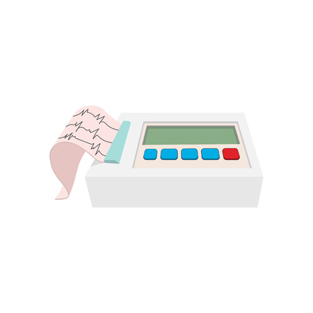 patient chart: Printing of cardiogram report coming out from electrocardiograph cartoon icon on a white background Illustration