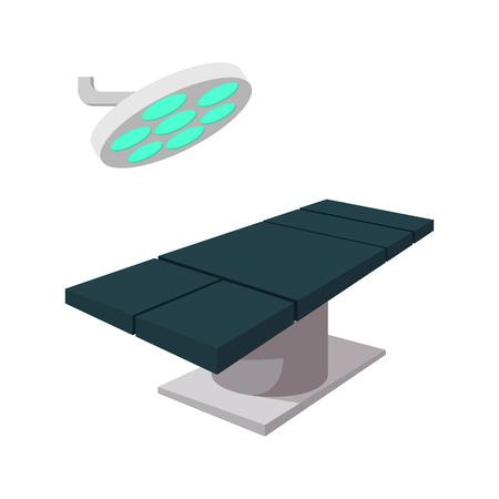 白地に手術ランプ漫画アイコンのオペレーティング テーブル
