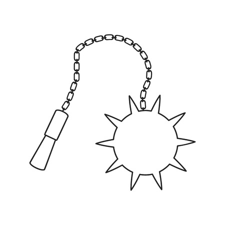 flail: Flail medieval weapon thin line icon on a white background