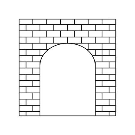 lattice frame: An old brick gate thin line icon on a white background