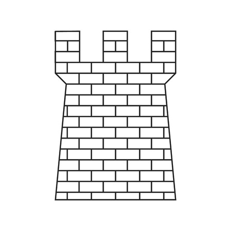 Antigua torre de defensa de ladrillo icono de línea delgada sobre un fondo blanco