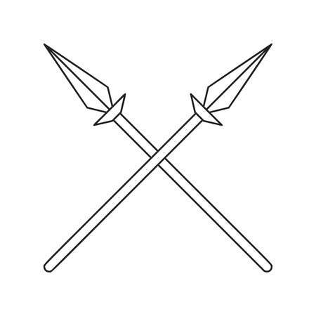 spears: Two crossed spears thin line icon on a white background