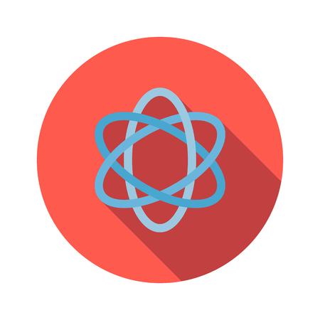 atomo: Atom icono de la muestra plano sobre un fondo blanco Vectores