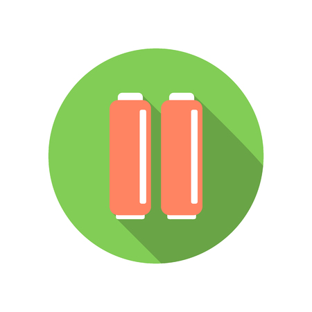ampere: A couple of batteries flat icon on a white background