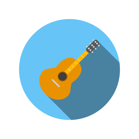 classical guitar: Classical guitar flat icon on a white background