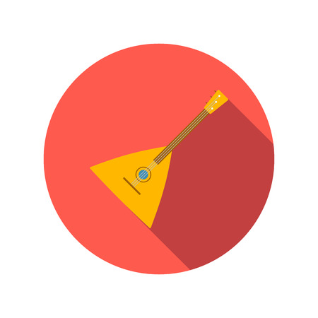 balalaika: Balalaika flat icon on a white background. Folk musical Instrument
