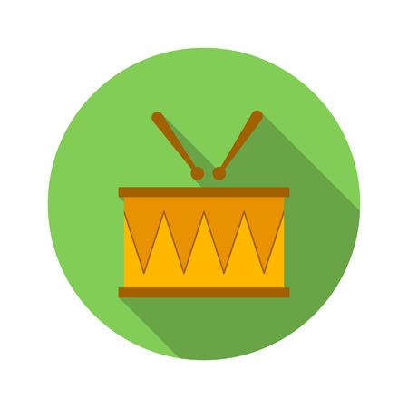 tambor: Tambor y baquetas icono plana sobre un fondo blanco
