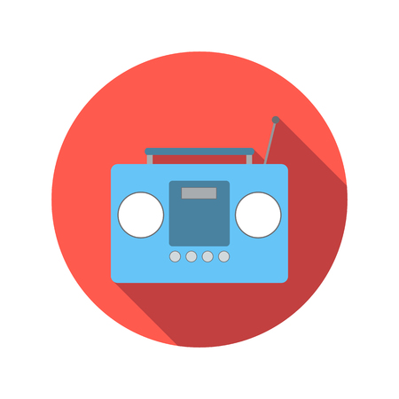 boom box: Boom box or radio cassette tape player flat icon on a white background