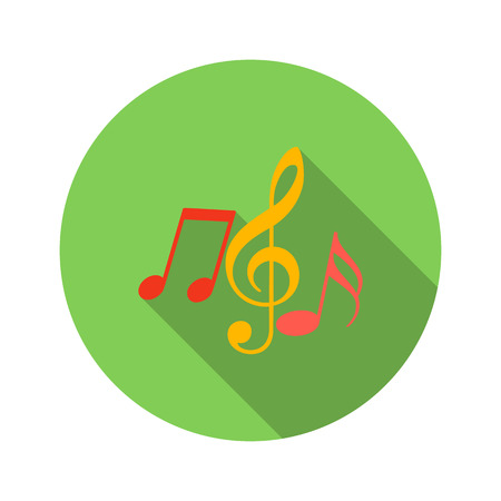 notes: Music key and notes flat icon on a white background Illustration