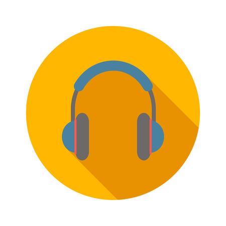 audifonos: Auriculares icono de plano sobre un fondo blanco Vectores