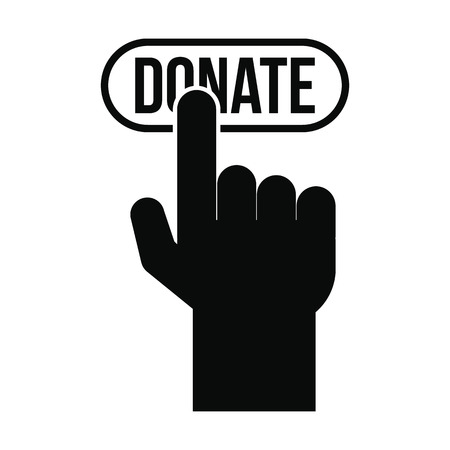 pressed: Donate button pressed by hand black simple icon Illustration