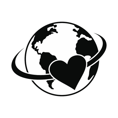 safe world: Love the earth black simple icon isolated on white background