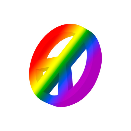 idealism: Pacific symbol in rainbow colors cartoon icon on a white background Illustration