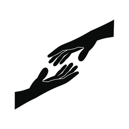 Dwa ramiona ciągnące się ku sobie prostą czarną ikoną Ilustracje wektorowe