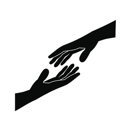 black hands: Two arms stretching towards each other black simple icon