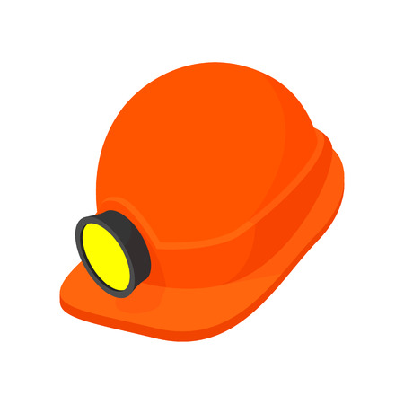 land mine: Helmet with a flashlight cartoon icon isolated on a white background Illustration