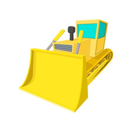 crawler tractor: Bulldozer cartoon icon isolated on a white background Illustration