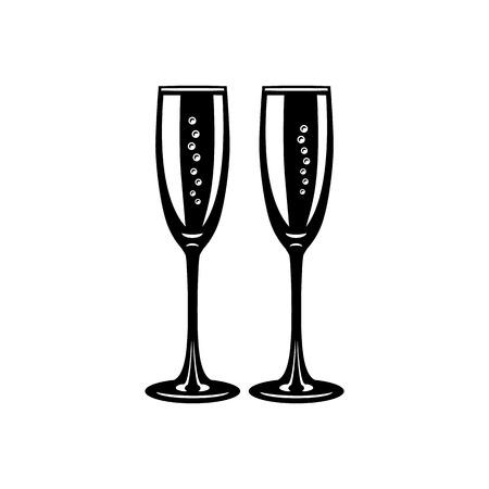 Deux verres de champagne simple icône isolé sur un fond blanc