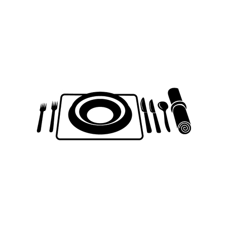 wedding table setting: Wedding utensils simple icon isolated on a white background