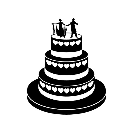getting married: Wedding cake simple icon isolated on a white background