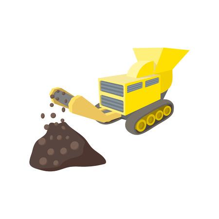 Coal conveyor crusher cartoon icon isolated on a white background Stock Illustratie