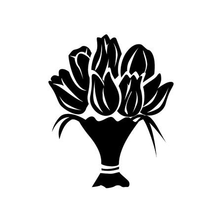 Boeket eenvoudige pictogram geïsoleerd op een witte achtergrond Vector Illustratie