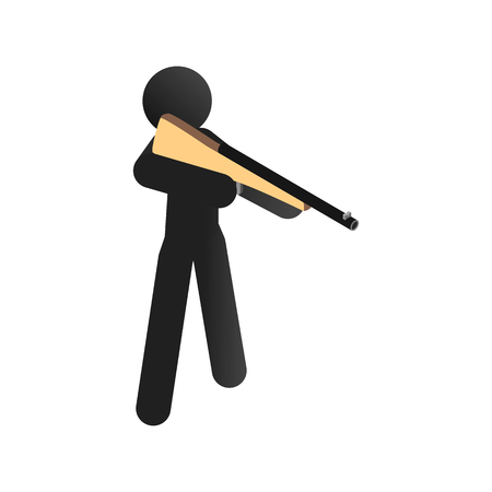 marksman: A man training sport shooting isometric 3d icon on a white background