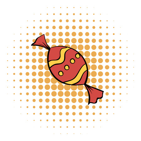 sweetmeats: Red sweet comics icon on the white background