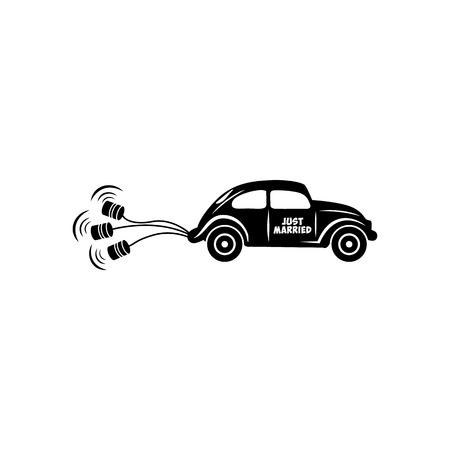 Hochzeitsauto mit Banken einfachen Symbol auf einem weißen Hintergrund