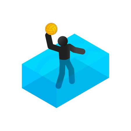 waterpolo: El nadador jugando waterpolo icono isom�trico 3d sobre un fondo blanco