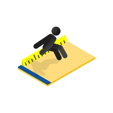 long jump: Long jump isometric 3d icon on a white background