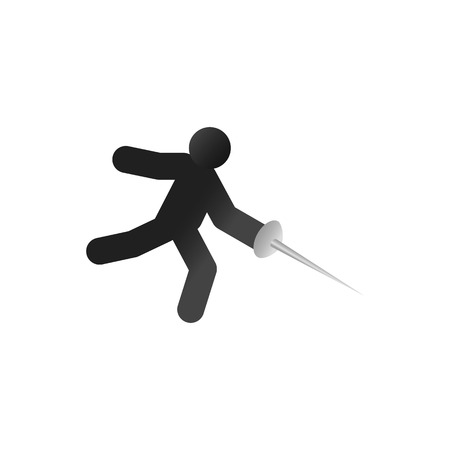 pentathlon: Fencing athlete isometric 3d icon on a white background