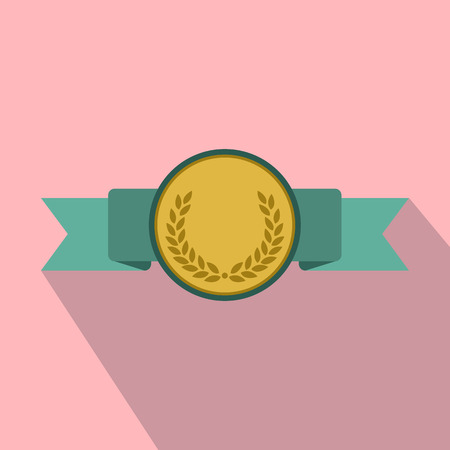 medalist: Medal with green ribbon flat icon with shadow on the pink background Illustration
