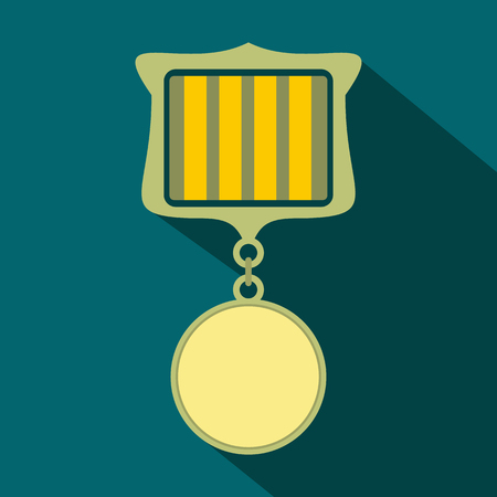 recompense: Medal award military flat icon with shadow on the blue background