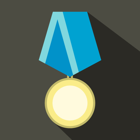 medal: Medal military flat icon with shadow on the gray background