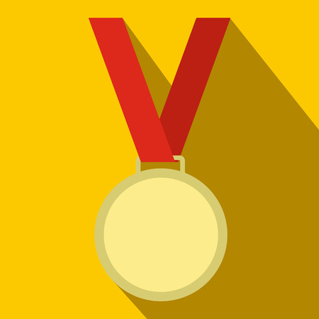medal: Medal with red ribbon flat icon with shadow for web and mobile devices