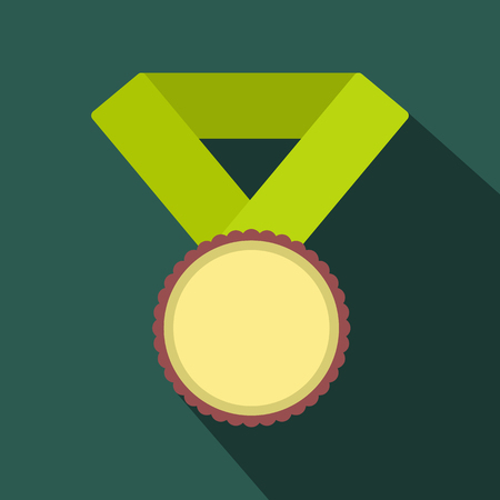 medal: Medal with yellow ribbon flat icon with shadow for web and mobile devices